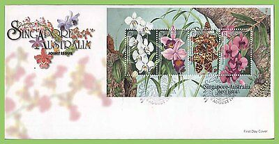 Singapore 1998 Singapore-Australia Joint Issue, Orchids M/S on First Day Cover