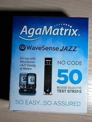 box of 50 AgaMatrix WaveSense JAZZ No Code Blood Glucose Test Strips Sealed