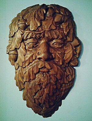 Large very nice hand carved wooden Pagan God Green Man face, Halloween Solstice