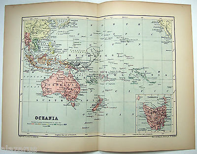 Original 1895 Map of Oceania by  W & A.K. Johnston
