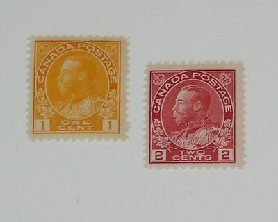 Stamp Pickers Canada 1911-25 KGV Admiral Mint Lot Scott #105-106 MH VF $80