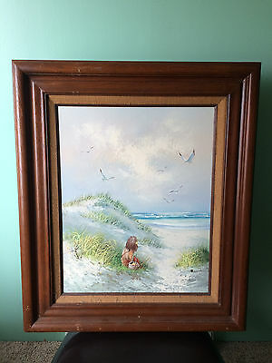 Original Oil Painting on Canvas Beach Scene and Little Girl Signed Runci