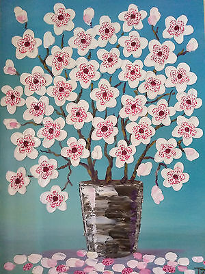 Magnolia Flowers in a Vase Original Textured oil painting still life 16 x 20 in