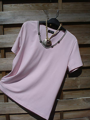 """""""bm"""" Ladies Light Pink Casual Top With Neck Detail Short Sleeve Size 12"""