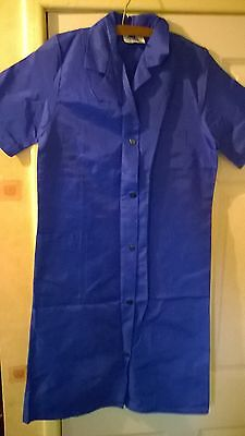 NEW & UNWORN Ladies 100% Crinkly/Rustly Nylon Overall Pinny in Royal Blue