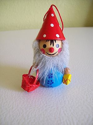 Vintage Steinbach Volkskunst ? Wooden Christmas Ornament Gnome with Lantern