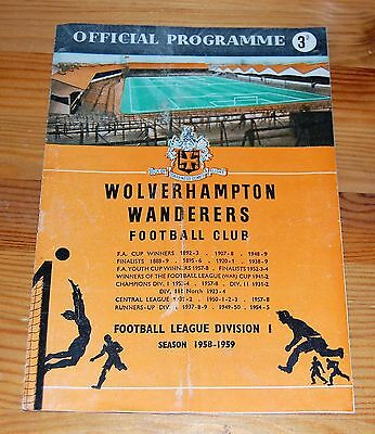 Wolverhampton Wanderers v Bolton Wanderers 1958/59 FA Cup Football Programme