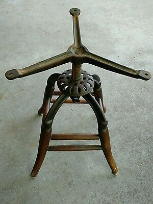 Antique Industrial Cast Iron Adjustable Drafting Swivel Stool