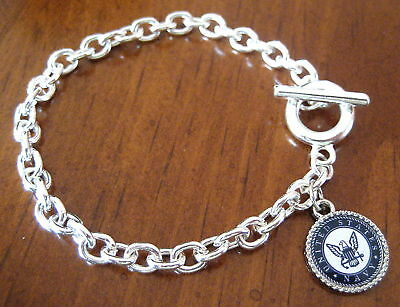 new! USN Military United States NAVY SILVER TOGGLE CHARM BRACELET jewlery gift