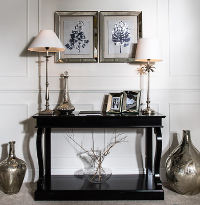 Black Console Table - Neptune style Gloss Wood Feature legs Hall Table RRP £499