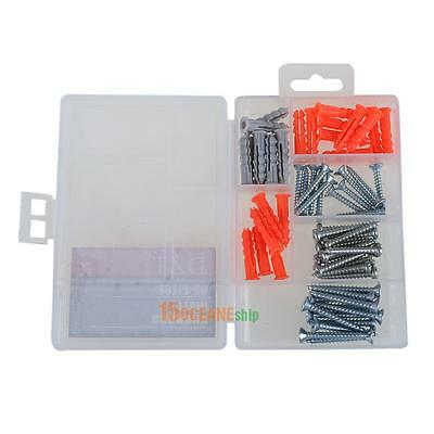 62pcs Wall Anchor Pipe Plastic Expansion Screw Bolts Mounting Hardware Tool Kit
