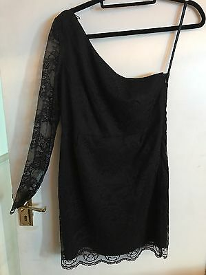 BNWT Womens Stunning Black Lace One Shoulder Dress Size 10 New Look
