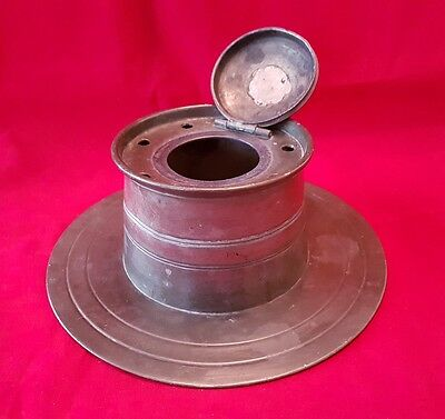 Large antique Pewter Capstan inkwell