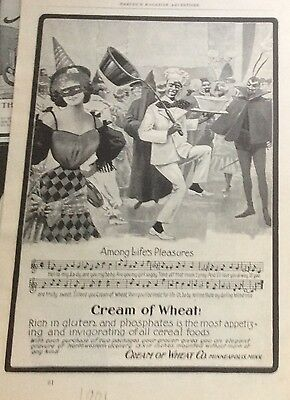 1901 Cream of Wheat full page ad of Rastus at masked ball