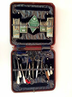 Antique Sewing Kit Set Red Case Box Mother of Pearl Carved Tools 1900s As found