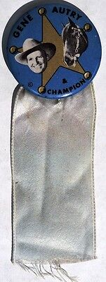 S168. Vintage: GENE AUTRY & CHAMPION Pinback Button with Ribbon (1950's)