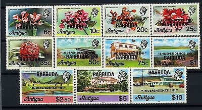 BARBUDA, GB, SC506~16(11)CplSet, 1981 E2R Def. to $10 Ovprt INDEPENDENCE MNH-$25