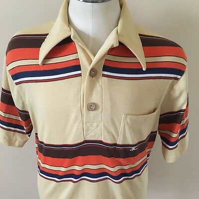 Vintage 70s Hobie Surf Skate Casual Beach Wear Thin Striped Polo Shirt Small S