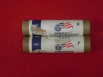 """2009 Lincoln Cent """"Presidency"""" LP4 P&D Pair Two Full Mint Rolls Unopened"""
