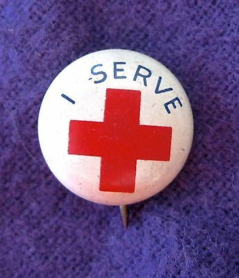 """Vintage WWII America Red Cross """"I Serve"""" Pinback Button Pin Celluloid 1940s"""