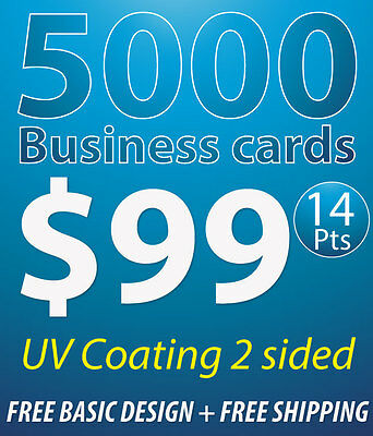 5000 Business Cards Printing, 14pts, UV Coating, 2 Sides, Free Design & Shipping