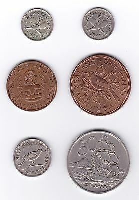 New Zealand: 3-Pence 1939/1947, ½ Penny 1962, Penny/Sixpence 1964, 50-Cents 1967