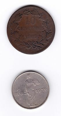 Lot of 2 Historic Coins, Luxembourg: 10 Centimes 1865 & 1 Franc 1939