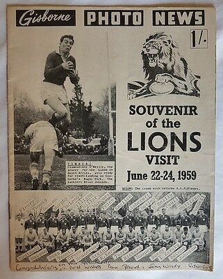 1959 Poverty Bay-East Coast v British & Irish Lions souvenir booklet