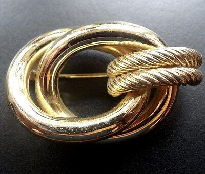 vintage signed GROSSE Germay textured knot gold tone brooch -M24