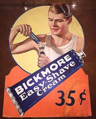 VINTAGE 1930's BICKMORE SHAVE CREAM DRUG STORE SIGN W/ A YOUNG (RONALD REAGAN)
