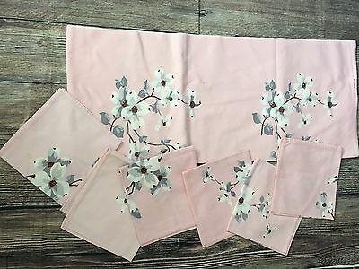 Excellent Vintage Wilendur Pink Dogwood Print TABLECLOTH 64x54 6 Napkins