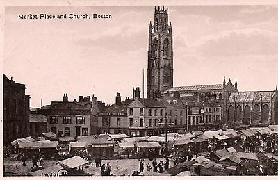 """Postcard Lincolnshire Boston """" Market Place And Church """"  Rp"""