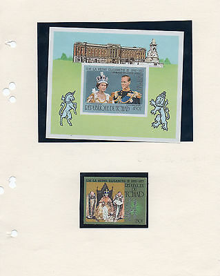 Stamps  Chad  1978 Anniversary Of Coronation  Miniature Sheet & 250F Value Imper