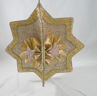 3D Gold Glittered Star Christmas Tree Ornament new holiday