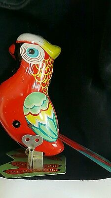 Vintage Parrot Jumping Bird Clockwork Wind Up China Japan Russia Germany Toy Key