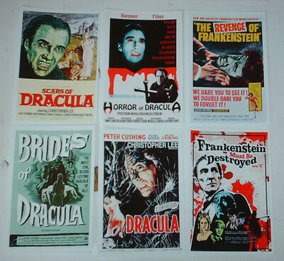 Hammer Horror Movie Posters Job Lot Set 10  6 X 4 Glossy Cards Peter Cushing