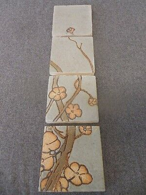 Grueby Signed Arts Crafts Architectural Tiles Fireplace Salvage Flowers Vines
