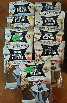 Lot of 9 Packages Vintage New NOS Star Coffee Filters Prop Decor Old Stock