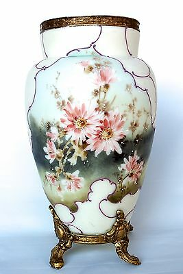 "Wave Crest 12"" Hand painted vase with Chrysanthemums Marked"