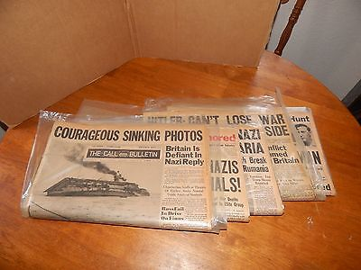 6 WWll 1940s San Francisco The Call Bulletin Newspapers Hitler Photo on One