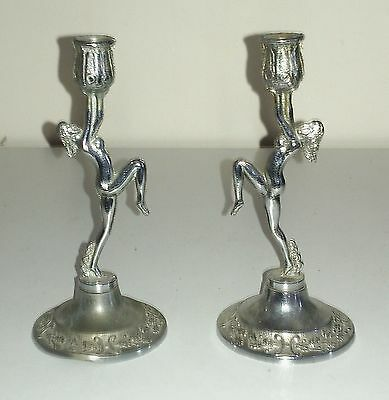 Super Pair Of Antique Miniature Art Deco Chrome Plated Naked Lady Candlesticks