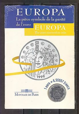 France 1999 1 Euro-6,55957 Franc Silver Europa Conversion Coin Paris Mint Sealed