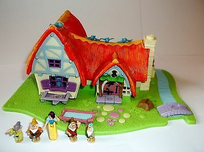 Disney Vintage Polly Pocket Toy Snow White Set In Excellent Condition Lights Up