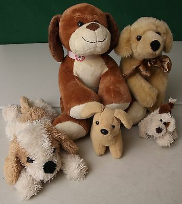 Five soft plush dogs (one is a keyring)