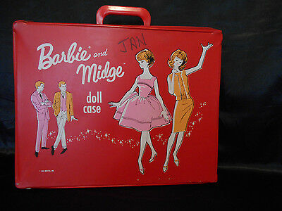 Vintage Barbie and Midge Doll Case Large Red 1963 Pre-Owned