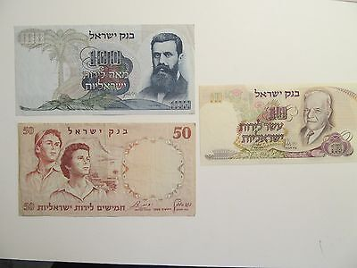 Lot of 3 Israel Bank Notes, 1965 10 Lirot & 100 Lirot, 1960 50 Lirot