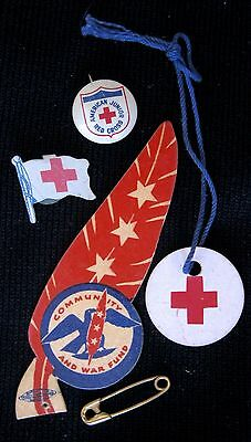 """Vintage Red Cross Pinback/Tab + """"Community and War Fund"""" Cardboard Red Feather"""