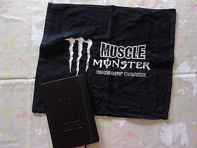 Muscle MONSTER Energy Bar/Gym Towel and Promotional Journal Hardbound book NEW