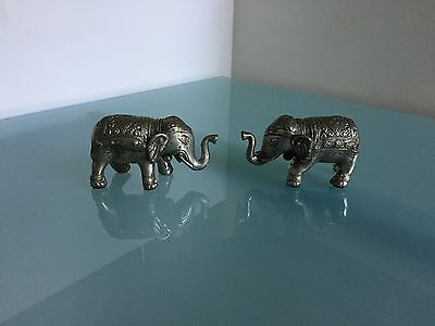 "Elephant Statue Wealth Luck Figurine H 4"" Antique Finish (Set of 2)"