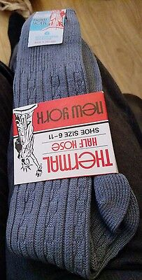 Men's Blue New York Thermal Half Hose Stretch Socks - Fits Sizes 6-11